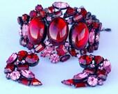 Original by Robert Red Pink Rhinestone Earring Bracelet Set