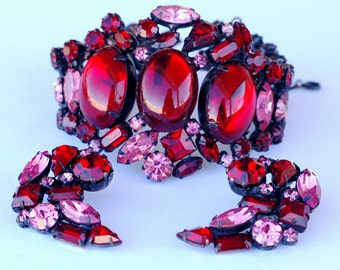 Original by Robert Red Pink Rhinestone Earring Bracelet Set