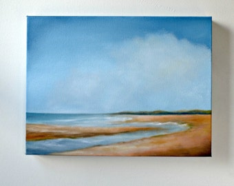 Original oil painting, seascape, crashing waves on the beach - Inlet