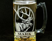 Personalized Elk Beer Mug, Etched Glass, Personalized Gift for Him, Outdoor & Sportsman
