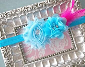 Turquoise Rhinestone Flower Baby Headband= Baby Feather Headband - Baby Photo Prop - Toddler Headband