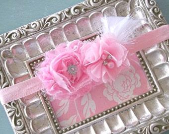 Pink Rhinestone Flower Baby Headband= Baby Feather Headband - Baby Photo Prop - Toddler Headband