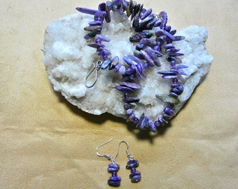 21 Inch Amethyst and Purple Jasper Stick Bead Necklace with Earrings