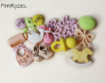 Buttonset Baby Girl ca.8-37mm 9 pieces for Newborn