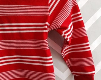 vintage red and white striped long sleeved shirt top by alfredo