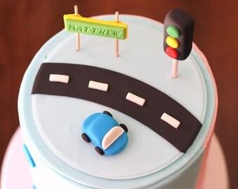Fondant Cake Topper Set - Over 30 pieces of Transportation Cars Trucks Fondant Topper Set Things that go fondant cake topper set