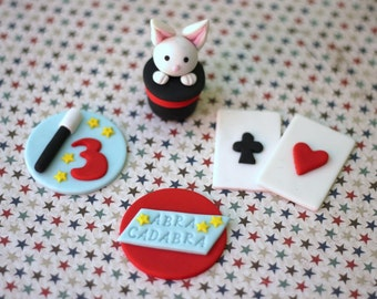 Magic Fondant Topper - Magic Party fondant topper set - Magic cupcake topper magician fondant