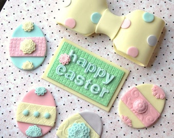 Our EXCLUSIVE Design Whimsical Easter Fondant Cake Topper Set - Easter Egg Fondant Easter - Easter Party - Easter Cake