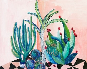 Cactus backyard - illustration - giclee print