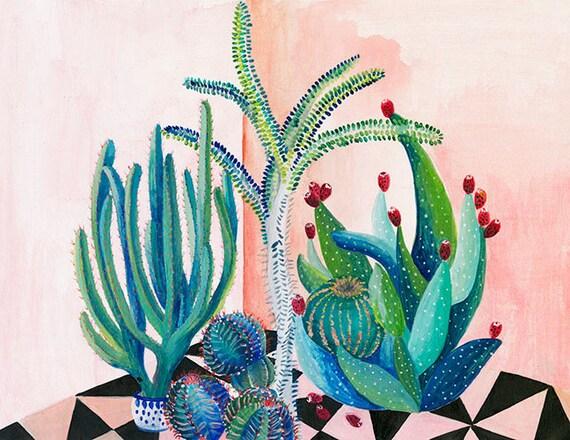 Cactus backyard - illustration - giclee print