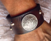 Custom Order for Cheyenne / Indian Coin Concho and Studs, Studded Leather Cuff, Brown