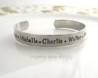 Personalized Name Bracelet, Mommy Cuff Bracelet Hand Stamped