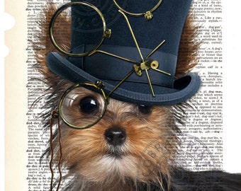 """Dictionary Page Art - DIY Digital Art Print - Steampunk Yorkie on a Vintage Dictionary Page - CP-492 - 8.5""""x11"""" - Instant Download"""