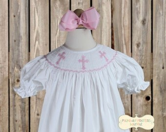 White Smocked Bishop Dress with Light Pink Crosses