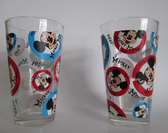 Mickey Mouse Club 1956 drink glass tumblers 2