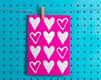 Blank 'Love' greetings card.Stationery by Jessica Hogarth - colourful & illustrative UK surface pattern design studio