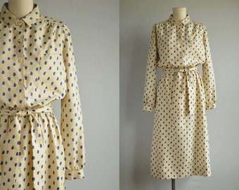 Vintage 1970s Lanvin Dress / 70s Mini Paisley Foulard Print Shirtdress Cream Blue