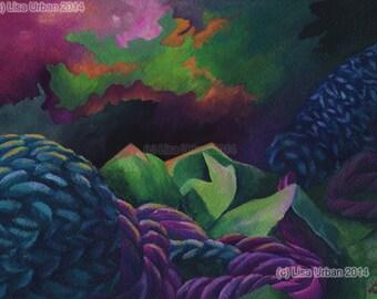 Clouds - Gouache on Paper, fine art print