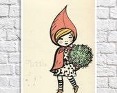 little red ridinghood  - children wall art ,girls room picture,art print, kids art, childrens decor, wall art, illustration, kids print