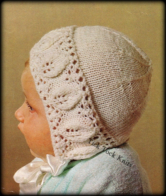 Knitting Pattern For Vintage Baby Bonnet : No.348 Baby Bonnet Knitting Pattern PDF Vintage Leaf Lace