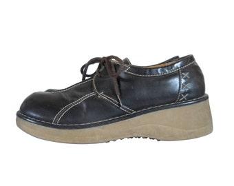 90s Grunge Shoe Wedge Shoe 90s Platform Shoe Brown Platform Shoe Vegan Shoe Brown Creeper Shoe Women Platform Women Creeper Platform Oxford