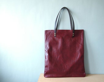 Leather Tote Bag - Red Leather Shoulder Bag Leather Shopper Bag by Holm