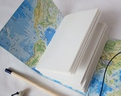 Map Travel Journal Leather Sketchbook Notebook A5 or A6 Made to order