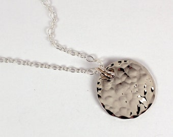 Hammered Silver Disc Necklace, Sterling Silver, Made to Order