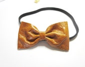 Brown Print lace Gold Leather   Bow  Everydays or Wedding Headband   Free Worldwide shipping