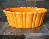 Vintage 1940s Akro Agate Pumpkin Orange Slag Milk Glass No 654 Oval Ribbed Scalloped Rim Planter