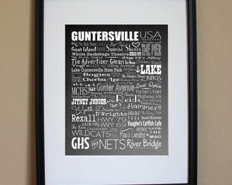 8x10 Guntersville Landmarks Art Print - Great Conversation Piece and Makes a Great Gift!