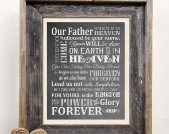 Beautiful - The Lord's Prayer Scripture Typography 8x10 Art Print