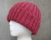 Red Knit Hat, Merino Wool Blend, Watch Cap Beanie Toque, Men Women Teens
