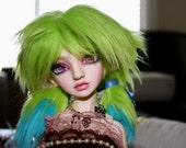 Green and blue pigtails MSD/SD wig