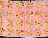 Antique Patchwork Quilt Hand Quilted Vintage Dresden Plate Pink Butterfly Applique 1930s