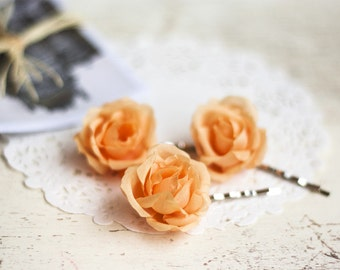 71_Orange wedding, Hair clips flowers, Hair pins flowers, Hair flower, Barrettes flowers, Hair pin rose, Rose pins, Bridal hair accessories.