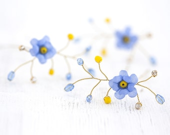 841_Gold hair pins, Blue flower pins, Bridal hair flowers, Forget-me-not hair accessories, Floral pins, Hair pins flowers, Hair flowers silk