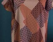 1970s Patchwork Retro Shoulder Tie Apron Pocket Dress One Size
