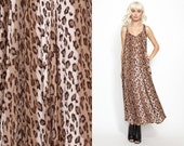 Vintage 80s 90s Leopard GAUZE MAXI Dress // OverSized