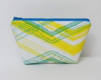 Small Makeup Bag, Repurposed Materials, Citrus, One of a Kind