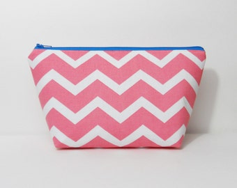 SALE- Medium Makeup Bag, Pink and White Chevron, Cosmetic Bag,  One of a Kind