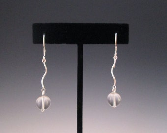 Quartz Crystal and Sterling Squiggle Earrings