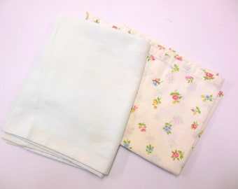 Vintage Pillowcases Flowered Light Blue Linens Bedding