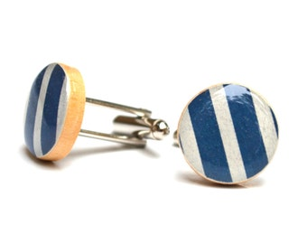 Mens Navy blue and white striped cuff links nautical wedding 5th anniversary gift wood cufflinks mens accessories by starlight woods
