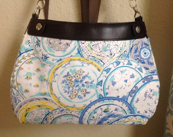 Suite purse skirt cover Waverly Aqua, yellow and blue dinner plate handmade suite skirt cover thirty one