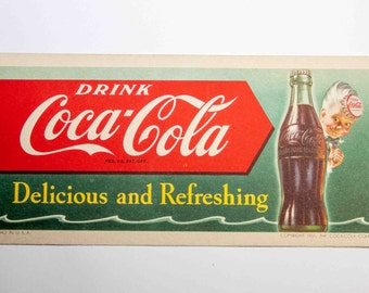 Vintage '51 COCA COLA ink blotter / Coaster-Litho in USA-Very Good Condition