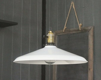 "Large White Pendant Light 14"", Barn Lights, Vintage Lighting, Industrial Pendant Light, Industrial Lighting with Edison Bulb, Kitchen Light"