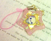 Bubble Kid Pink Star Resin Mobile Strap
