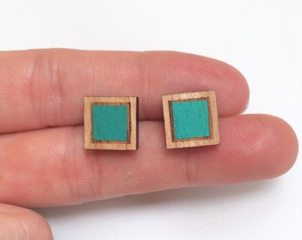 Wood laser cut earrings studs - double square diamond geometric hand painted emerald green