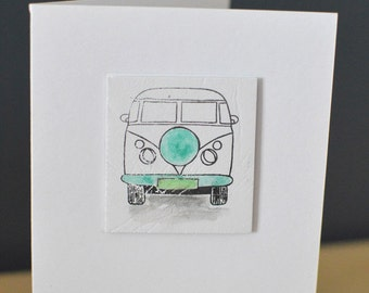 Camper Van Handmade Blank Card, VW Camper hand finished with Watercolour